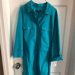 NWT Dressbarn XL Turquoise Shirt Dress 3/4 sleeve